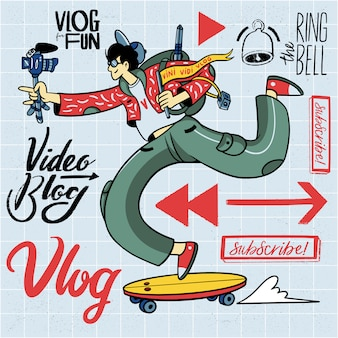 Hand gezeichnetes vlogging illustrations-element-set