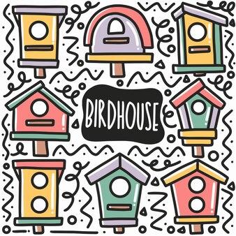 Hand gezeichnetes vogelhauskritzelset mit ikonen und gestaltungselementen