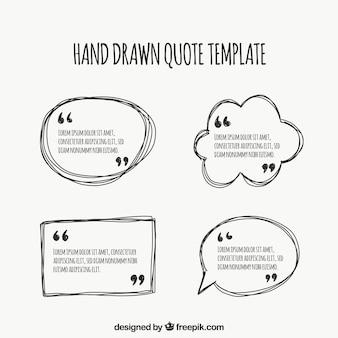 Hand gezeichnetes vorlagenpaket für zitate