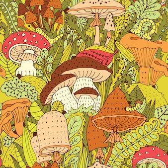 Hand gezeichnetes waldmuster mit verschiedenen arten von abstrakten pilzen