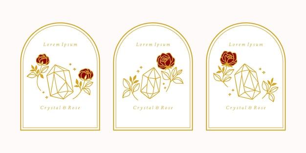 Hand gezeichnetes weibliches schönheitslogo mit kristall, rosenblume und botanischen blättern