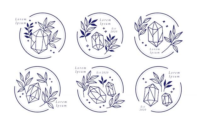 Hand gezeichnetes weibliches schönheitslogo mit kristall und botanischen blättern