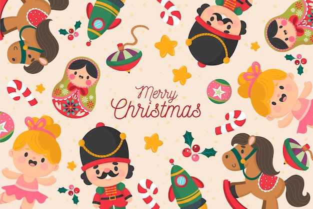 Hand gezeichnetes weihnachten spielt hintergrund