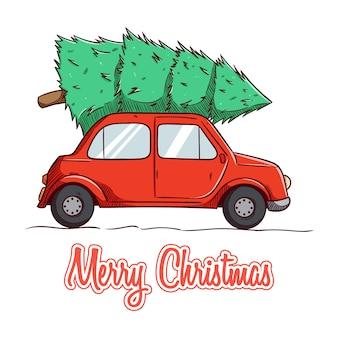 Hand gezeichnetes weihnachtsauto mit kiefer