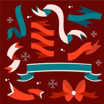 Hand gezeichnetes weihnachtsband-set