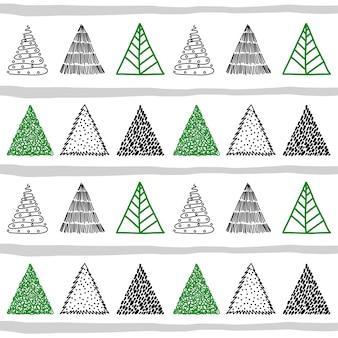 Hand gezeichnetes weihnachtsbaumgekritzel im nahtlosen muster