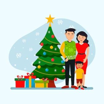Hand gezeichnetes weihnachtsfamilien-szenenkonzept