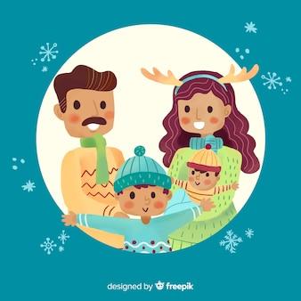 Hand gezeichnetes weihnachtsfamilienportrait