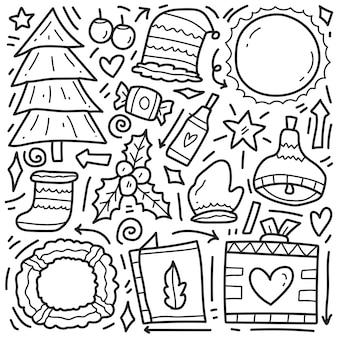 Hand gezeichnetes weihnachtsgekritzelkarikaturfarbdesign