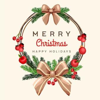 Hand gezeichnetes weihnachtskranzkonzept