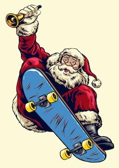 Hand gezeichnetes weihnachtsmann-reitskateboard