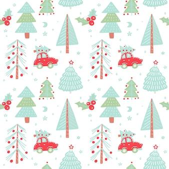 Hand gezeichnetes weihnachtsnahtloses muster mit weihnachtsbäumen. nettes rotes retro- auto im wintertannenwald.