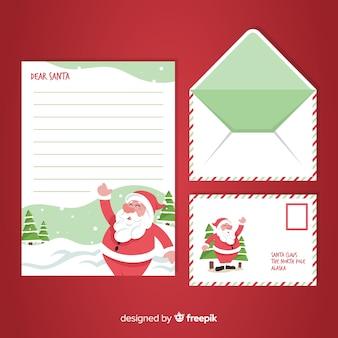 Hand gezeichnetes weihnachtsumschlag- und -briefkonzept
