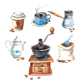 Hand gezeichnetes weinlese-aquarellkaffee setœ