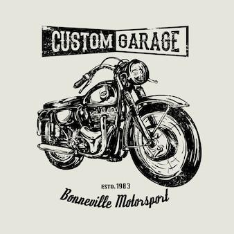 Hand gezeichnetes weinlese-motorradplakat