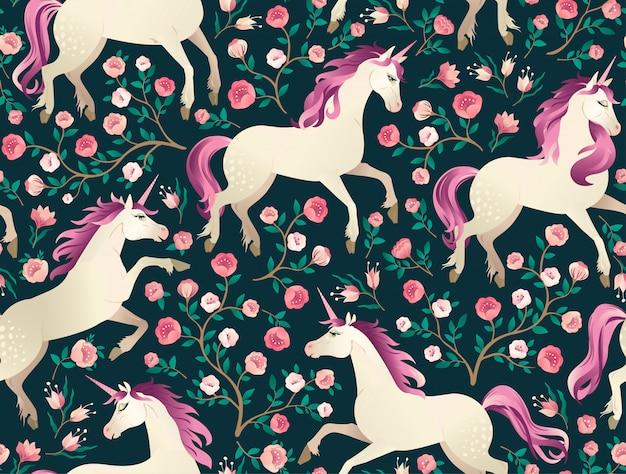 Hand gezeichnetes weinlese unicorn im magischen waldnahtlosen muster