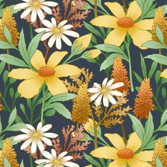Hand gezeichnetes weinleseblumenmuster