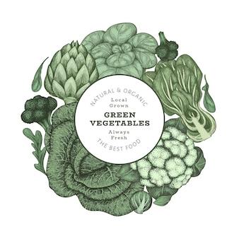 Hand gezeichnetes weinlesefarbgemüse. bio-frischwaren-banner-vorlage. retro gemüsehintergrund. traditionelle botanische illustrationen.