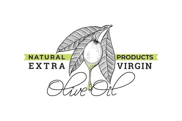 Hand gezeichnetes weinleselogo des olivenöls