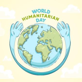 Hand gezeichnetes welt humanitäres tageskonzept