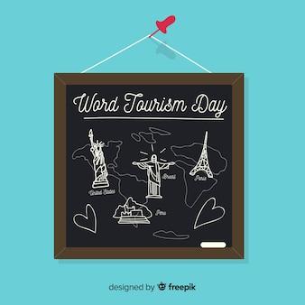 Hand gezeichnetes Welttourismustageskonzept