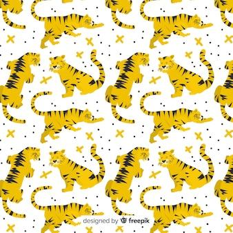Hand gezeichnetes wildes tigermuster