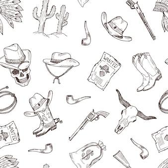 Hand gezeichnetes wildes westcowboymuster oder