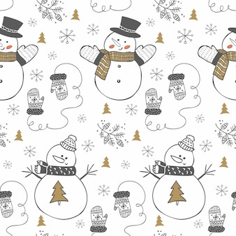 Hand gezeichnetes wintermuster mit schneemännern