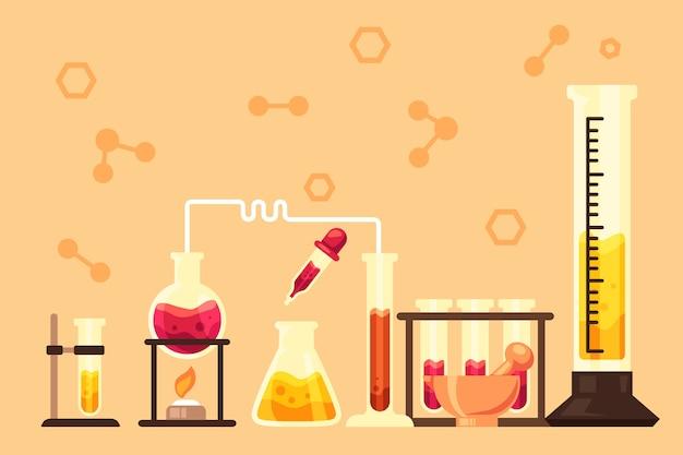 Hand gezeichnetes wissenschaftslabor mit chemischen gegenständen