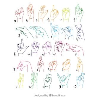 Hand gezeichnetes zeichensprachenalphabet