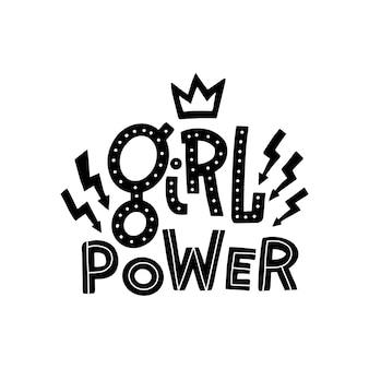 Hand gezeichnetes zitat girl power verziert mit blitzzeichen und -krone.