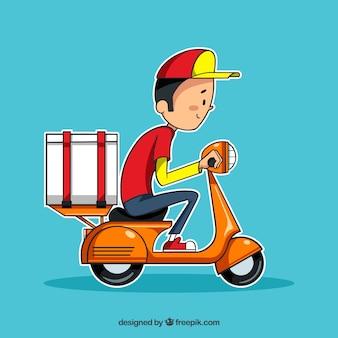 Hand gezogene lieferung mann auf roller