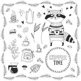 Hand gezogener raccoon mit kaffee. doodle kaffeeelemente