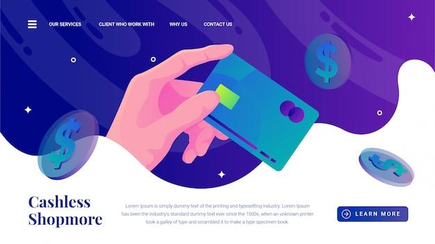 Hand greift nach der zielseite der bargeldlosen zahlungsmethode der kreditkarte