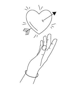 Hand greift nach herz in liebe. hand gezeichnete linie kunststil.