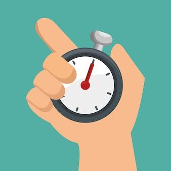 Hand hält chronometer sport design