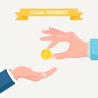 Hand hält dollar-münze isoliert auf grau