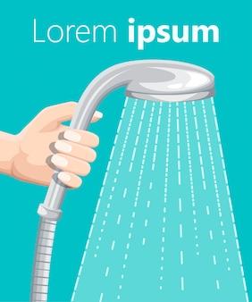 Hand hält duschkopf mit wassertropfen fließenden regensprühwasserillustration auf türkisfarbenem hintergrundwebseite und mobiler app