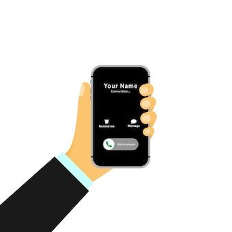Hand hält ein smartphone mit einem eingehenden anruf und einem touchscreen