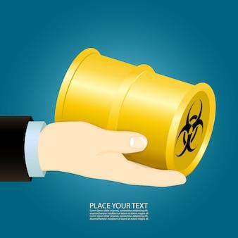 Hand hält eine chemische bombe