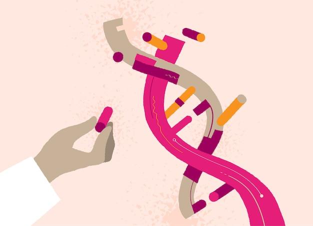 Hand hält eine dna-helix-komponente