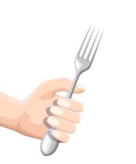 Hand hält eine gabel. küchenutensilien aus rostfreiem stahl. flache illustration lokalisiert auf weißem hintergrund. farbiges symbol für restaurantmenü oder café.