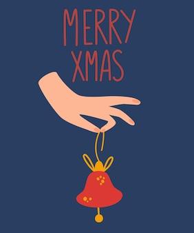 Hand hält eine weihnachtsglocke. frohes neues jahr oder weihnachtskarte. schöne ferien. vektor-hand zeichnen cartoon-illustration.