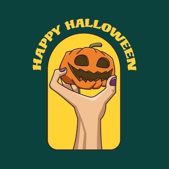 Hand hält halloween-kürbis