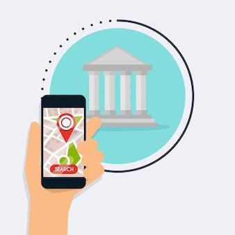 Hand hält mobiles smartphone mit app-bank-suche. modernes flaches kreatives info-grafikdesign auf such-atm-anwendung.