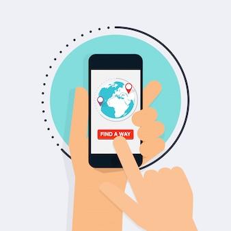 Hand hält mobiles smartphone mit wegfindung app. karte auf dem smartphone. navigationskonzept.