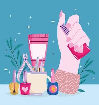 Hand hält nagellack
