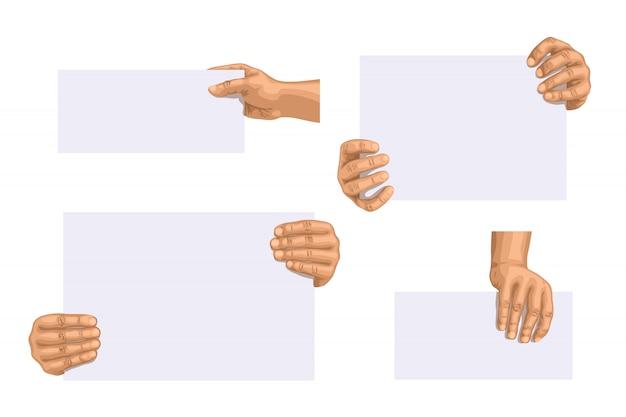 Hand hält papierset