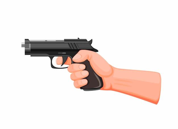 Hand hält pistole, die schussbereit zielt. pistolenpistole im karikaturillustrationsvektor auf weiß