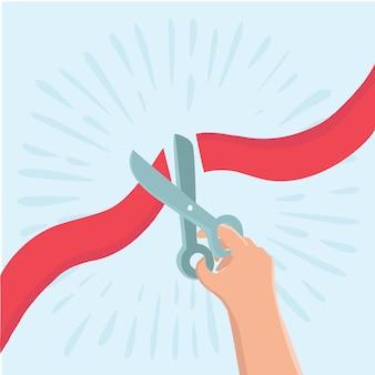 Hand hält schere und schneidet rotes band. geschäftseröffnungskonzept